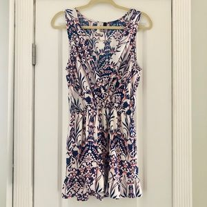 Blue & Neon Orange Pattern Romper